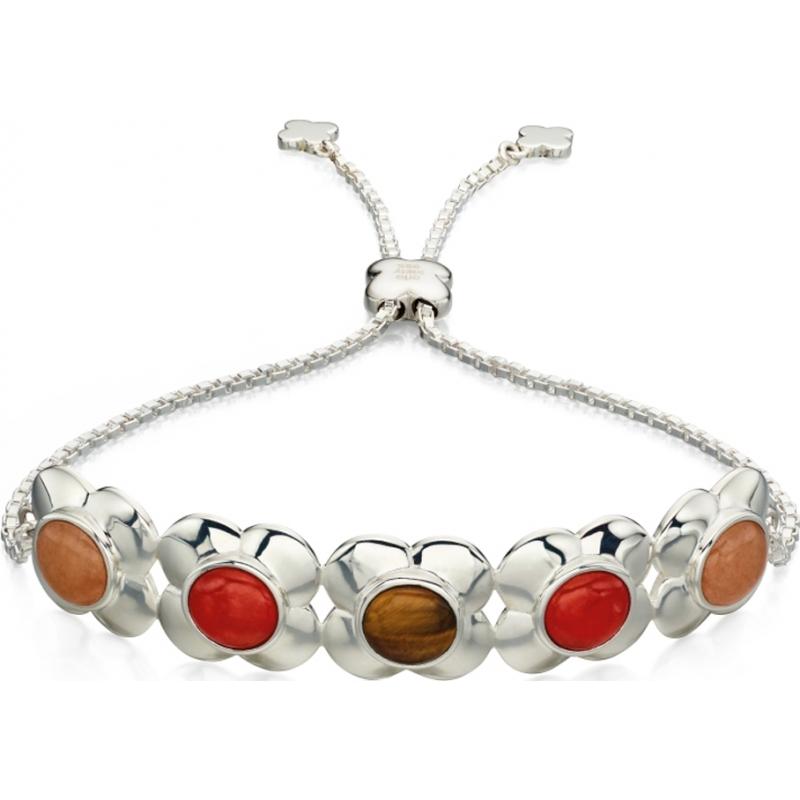 Orla Kiely B4851 Senhoras prata esterlina pulseira de flor de alternância