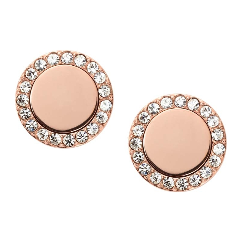 jf01792791 fossil ladies classic rose gold tone mirrored stud earrings. Black Bedroom Furniture Sets. Home Design Ideas