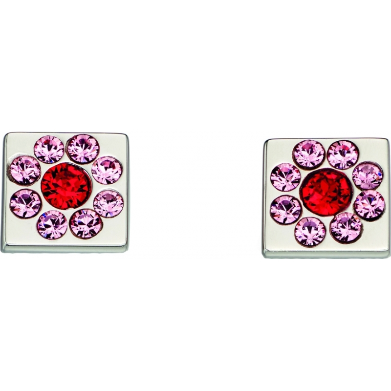 Orla Kiely E5224 Ladies Sterling Silver Flower Cube Earrings with Swarovski Details
