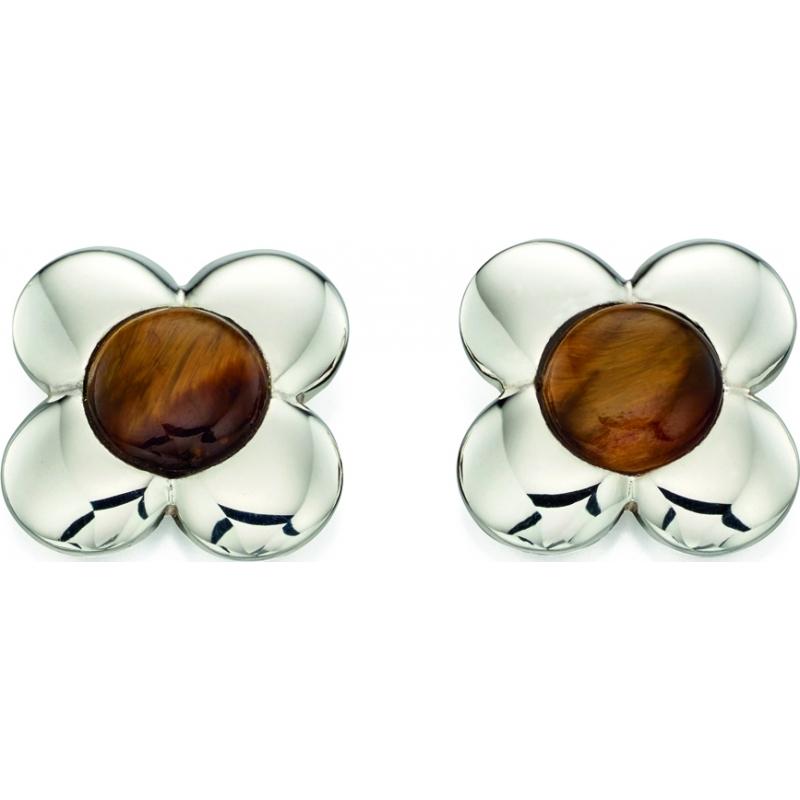 Orla Kiely E5225 Ladies Sterling Silver Flower Stud Earrings with Tigers Eye