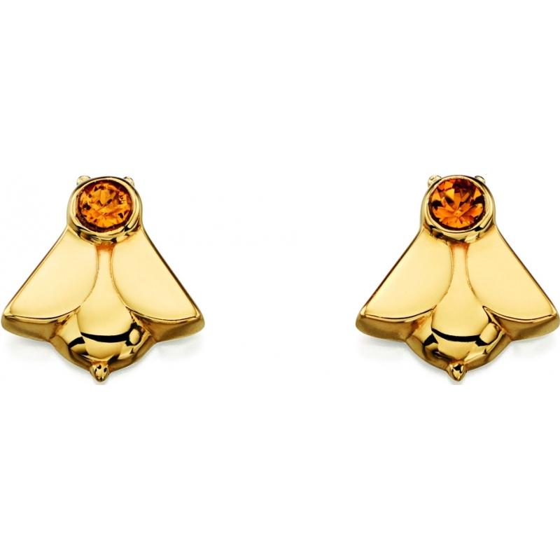 Orla Kiely E5227 Ladies Sterling Silver Gold Plated Bee Stud Earrings