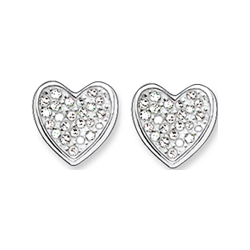 Thomas Sabo H1863-051-14 Señoras zirconia allanan corazón aretes de plata