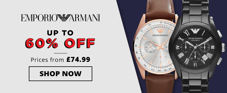 Emporio Armani, up to 60 percent off, prices from £74.99, shop now