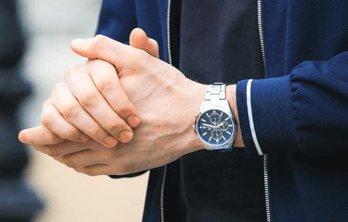 Man wearing chronogrpah watch