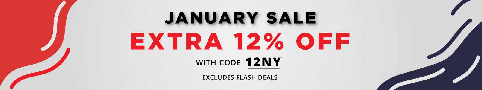 January sale, Extra 12 percent off with code 12NY, excludes flash deals