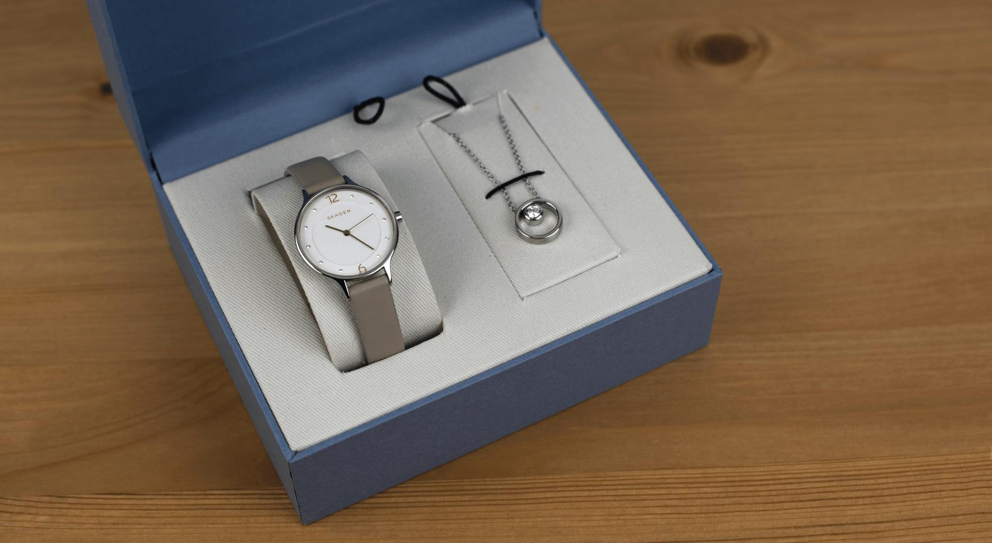 Skagen SKW1100 watch and necklace gift set
