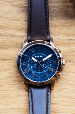 mens brown strap blue dial watch