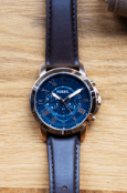 mens brown strap blue dial watch