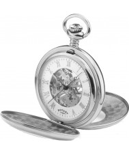 Rotary MP00712-01 Mens Mechanical Skeleton Steel Pocket Watch with Chain