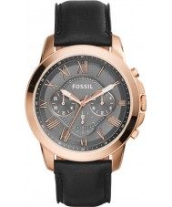 Fossil FS5085 Mens Grant Black Leather Chronograph Watch
