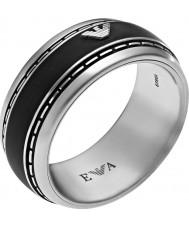 Emporio Armani Mens Signature Black Silver Ring