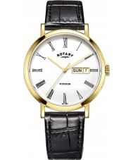 Rotary GS05303-01 Mens Timepieces Windsor Gold Plated Black Leather Strap Watch