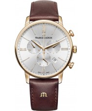 Maurice Lacroix EL1098-PVP01-111-1 Mens Eliros Brown Leather Chronograph Watch
