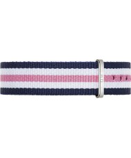 Daniel Wellington DW00200050 Ladies Classic Southampton 36mm Silver Blue White and Pink Nylon Spare Strap
