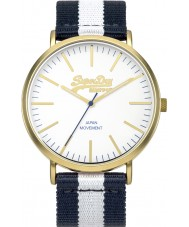 Superdry SYG183WUE Oxford Navy Blue and White Stripes Mixed Strap Watch