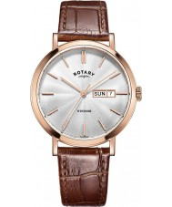 Rotary GS05304-02 Mens Timepieces Windsor Rose Gold Plated Brown Leather Strap Watch