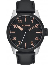 Nixon A975-2051 Mens Safari Black Leather Strap Watch