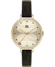 Orla Kiely OK2032 Ladies Ivy Black Leather Strap Watch