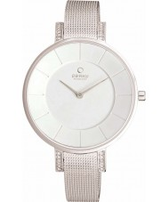 Obaku V158LECIMC Ladies Stone Set Skinny Silver Tone Mesh Bracelet Watch