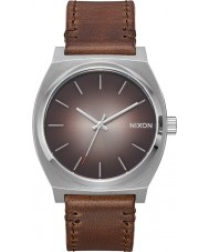 Nixon A045-2594 Mens Time Teller Brown Leather Strap Watch