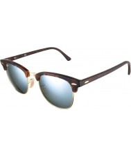 RayBan RB3016 51 Clubmaster Sand Tortoiseshell-Gold 114530 Silver Mirror Sunglasses