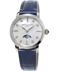 Frederique Constant FC-206MPWD1S6 Ladies Slimline Moonphase Blue Leather Strap Watch