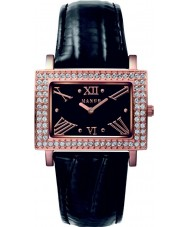 Mango QM281-11-02 Ladies Samba Black Dial Leather Strap Watch