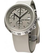 Issey Miyake AZ005 Mens Trapezoid Beige Silicone Chronograph Watch