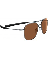 Serengeti Aerial Titanium Shiny Hematite Polarized Drivers Sunglasses
