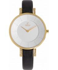 Obaku V158LEGIRB Ladies Gold Plated Stone Set Skinny Black Leather Strap Watch