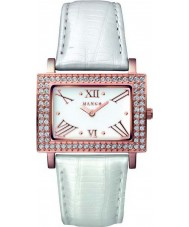 Mango QM281-32-01 Ladies Samba White Dial Pearl White Leather Strap Watch