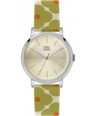 Orla Kiely OK2035 Ladies Patricia Green Orange Flowery Leather Strap Watch