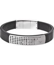 Emporio Armani EGS2004040 Mens Signature Macromicro Black Leather Bracelet with Steel Overlay