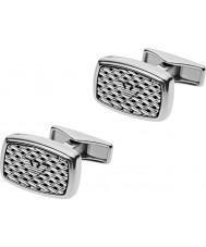 Emporio Armani EGS2144040 Mens Tonneau Mesh Silver Steel Cufflinks
