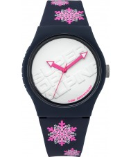 Superdry SYG165UP Urban Flake Dark Blue Watch with Fluro Pink Snow Flake Print