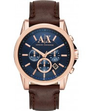 Armani Exchange AX2508 Mens Blue Dark Brown Chronograph Dress Watch