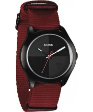 Nixon Quad Dark Red and Black Watch
