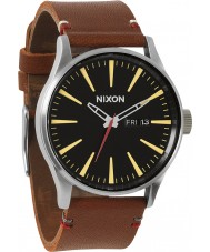 Nixon A105-019 Sentry Leather Black Brown Watch