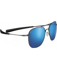 Serengeti Aerial Shiny Dark Gunmetal Polarized 555nm Blue Mirror Sunglasses