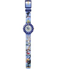 Flik Flak FLSP008 Boys Looney Tunes Fit And Fun Blue Watch with Matching Towel