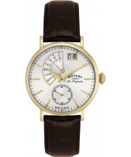 Rotary GS90086-06 Mens Les Originales Big Date Gold Brown Watch