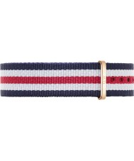 Daniel Wellington DW00200030 Ladies Classic Canterbury 36mm Rose Gold White Blue and Red Nylon Spare Strap