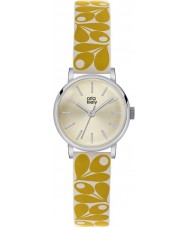 Orla Kiely OK2037 Ladies Patricia Acorn Print Yellow Cream Leather Strap Watch