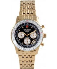 Krug Baümen 400103DS Air Traveller Diamond Black Dial Steel-Gold Strap