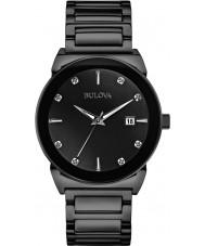 Bulova 98D121 Mens Diamond Black Steel Bracelet Watch