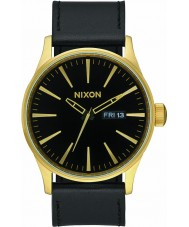 Nixon A105-513 Mens Sentry Leather Gold Black Watch