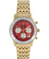 Krug Baümen 400105DS Air Traveller Red Dial Steel-Gold Strap