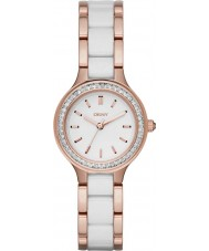 DKNY NY2496 Ladies Chambers White Ceramic Links Rose Gold Watch