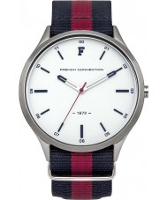 French Connection Mens Red Blue Striped Fabric Strap Watch