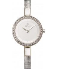 Obaku V129LECIMC Ladies Stone Set Silver Tone Skinny Mesh Bracelet Watch